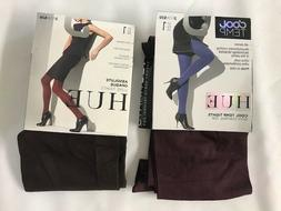 HUE 2 Pair Size 1, Absolute Opaque Luxe Tights, Control Top