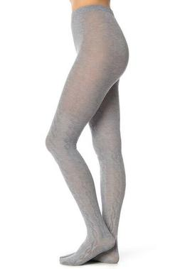 HUE Cable Knit Sweater Tights, Charcoal Heather, Size S/M