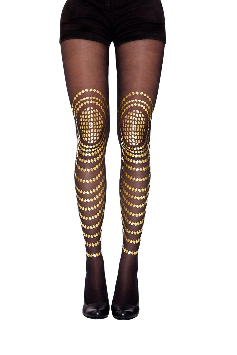 black and gold fish scale tights stockings