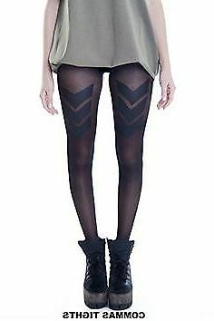 Tights US Military Theme Hosiery Stockings Black. The front