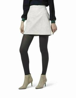 L215 Hue Heather Gray Control-Top Micro Cable-Knit Tights -