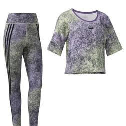 NWT ADIDAS Moment SET Cropped Tee & Tights Yellow  Purple FM