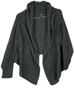 Eileen Fisher Open Front Cardigan Sweater Cape Charcoal Gray