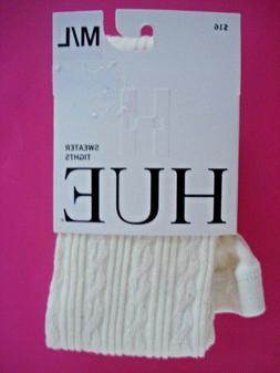HUE SWEATER TIGHTS CABLE KNIT CREAM M/L NEW