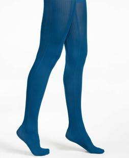 HUE Tights VARIEGATED Control Top CATALINA BLUE Size Small /