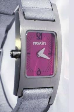 Women Nixon Watch The Wrap Tight Silver Leather Band Pink Fa